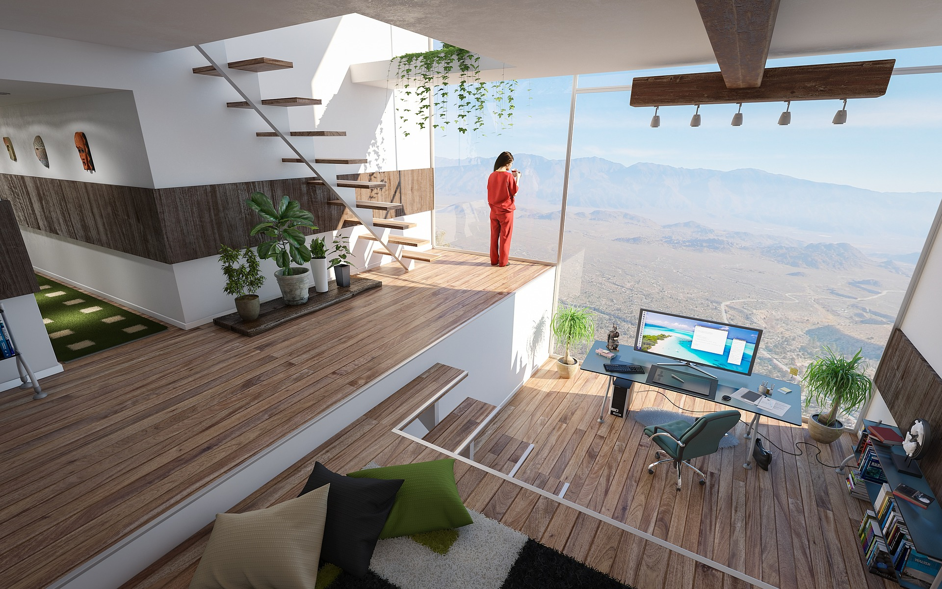 home office living space with amazing desert view