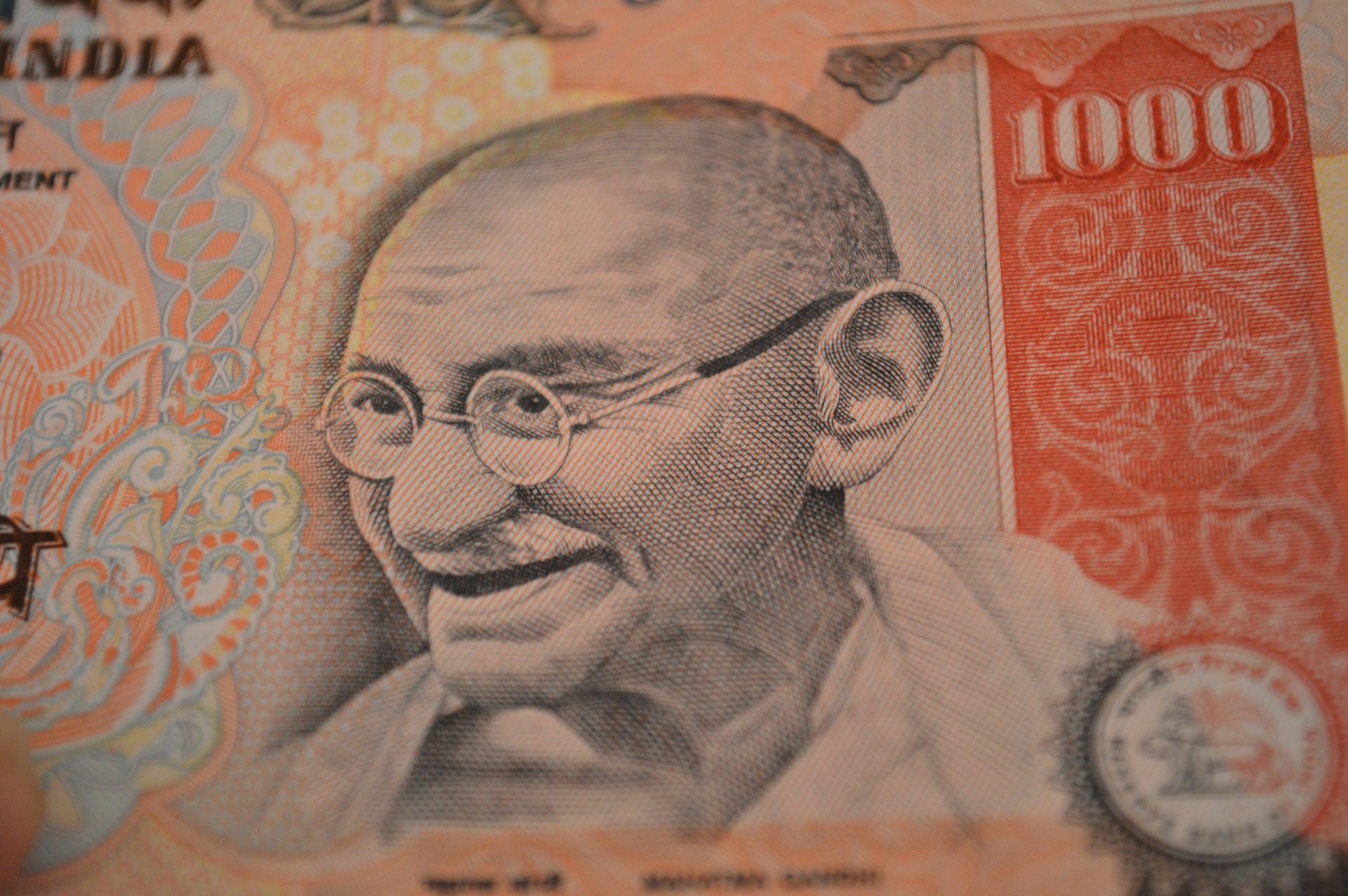 photo of Gandhi on banknote