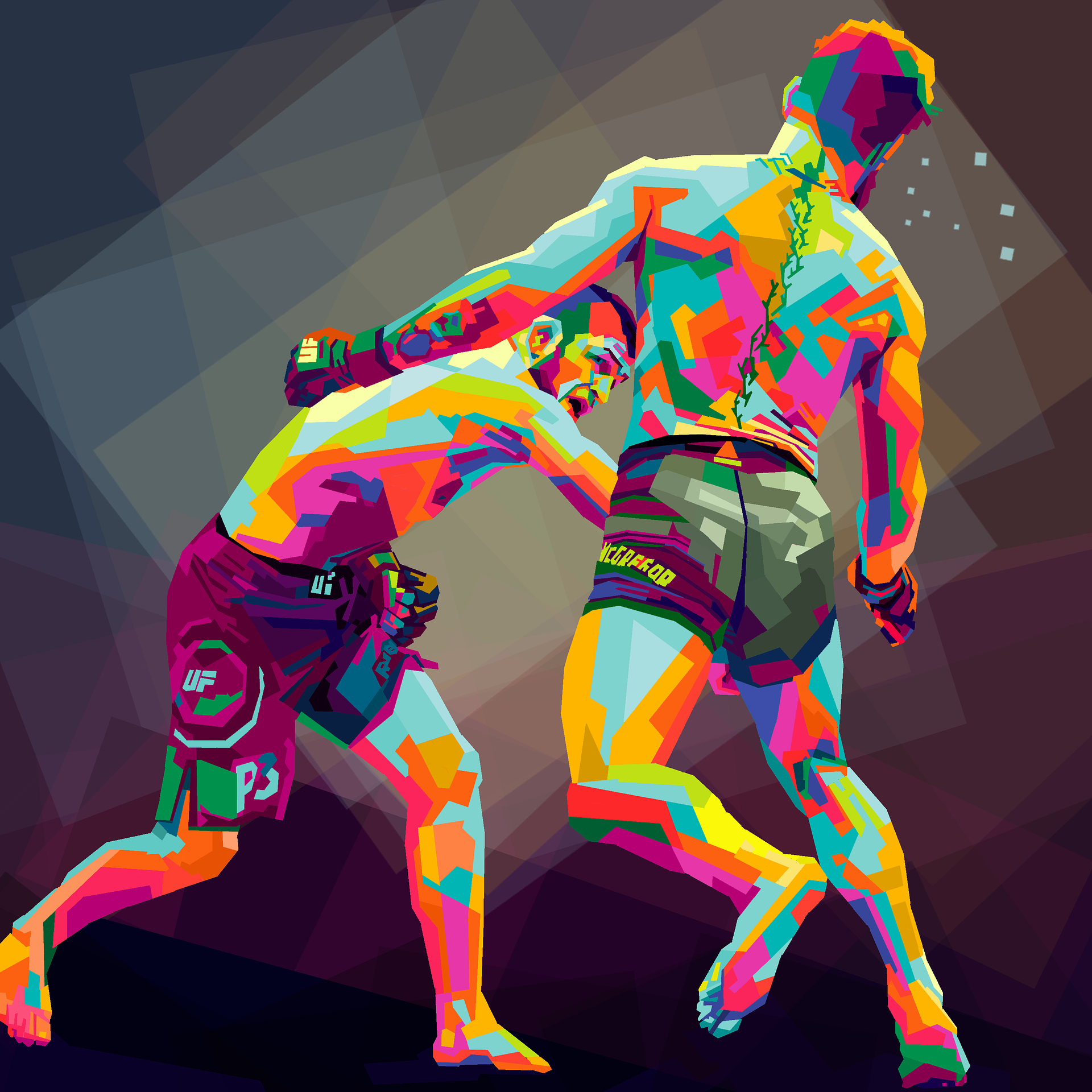 psychedelic colours two boxers one punching one absorbing