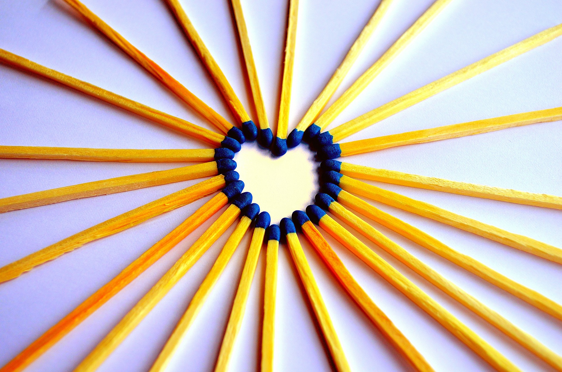 matches creating heart image
